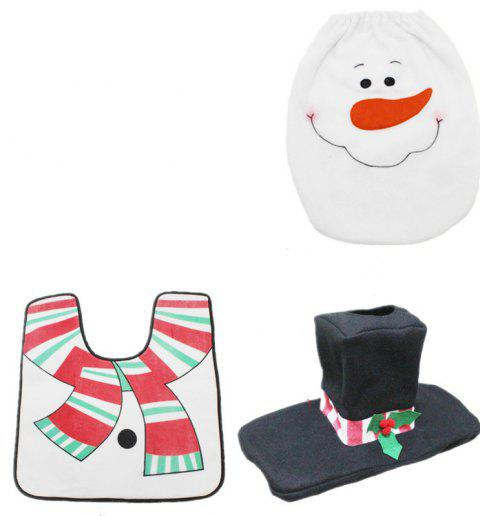 Toilet Seat Cover Snowman Toilet Lid Christmas Decorations for Home Xmas - WHITE 1 SET