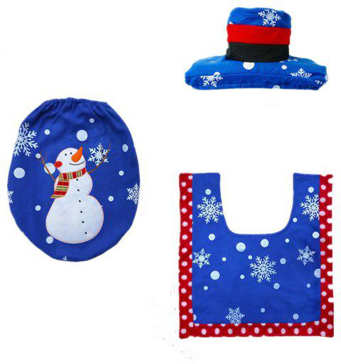 Christmas Decoration Blue Snowman Toilet Seat Cover and Rug Bathroom - BLUEBERRY BLUE 1 SET