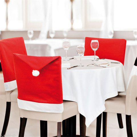 6PCS Removable Santa Red Hat Chair Covers Christmas Decorations - RED 3 PAIRS