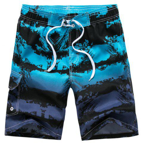 Men Stripe Printed Leisure Loose Quick-Drying Beach Shorts - DEEP SKY BLUE L