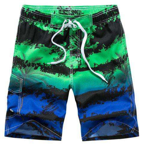 Men Stripe Printed Leisure Loose Quick-Drying Beach Shorts - GREEN APPLE XL