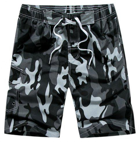 Summer Men Beach Shorts Camouflage Board Lightweight Quick Drying - GRAY M