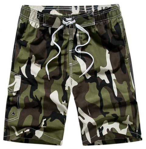 Summer Men Beach Shorts Camouflage Board Lightweight Quick Drying - ARMY GREEN L