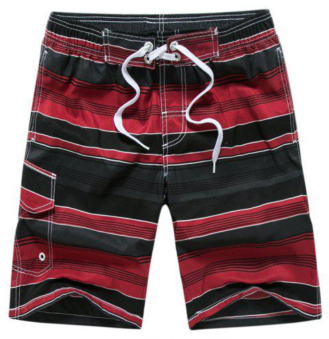 Summer Hot Striped Board Casual Mens Quick-Drying Beach Shorts - RED WINE M