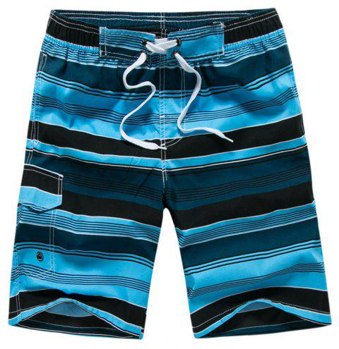 Summer Hot Striped Board Casual Mens Quick-Drying Beach Shorts - BLUE XL