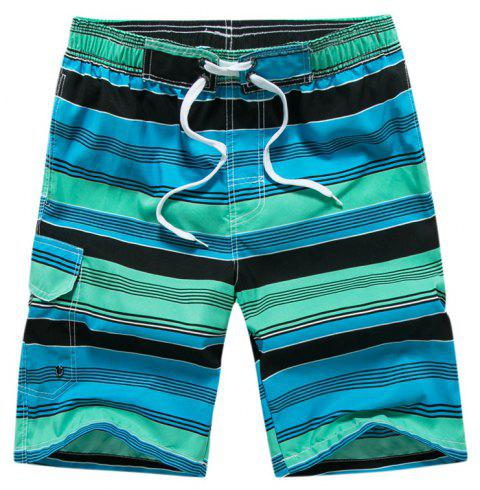 Summer Hot Striped Board Casual Mens Quick-Drying Beach Shorts - GREEN M