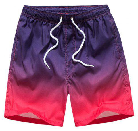 Summer Men's Slacks Loose Quick-Drying Gradients Movement Shorts - PURPLE L