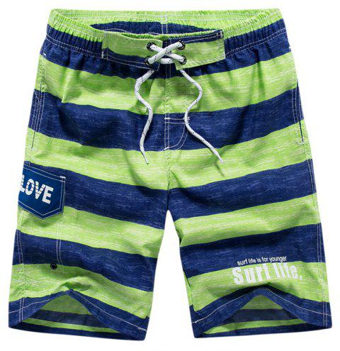 Summer Men Beach Quick Dry Brand Striped Mid Waist Printing Board Shorts - GREEN 2XL