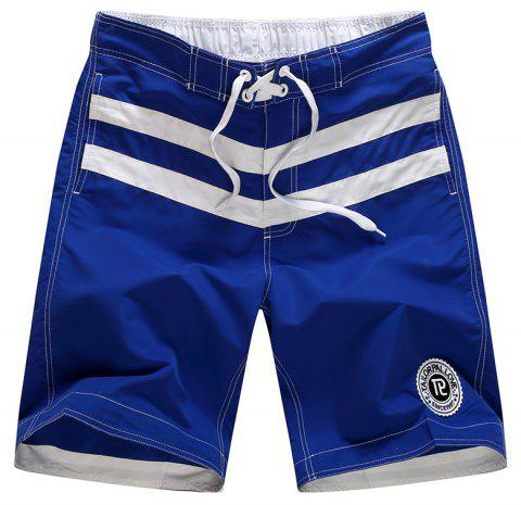 Beach Pants Men Leisure Pure Color Stripe Quick-Drying Movement Shorts - OCEAN BLUE M
