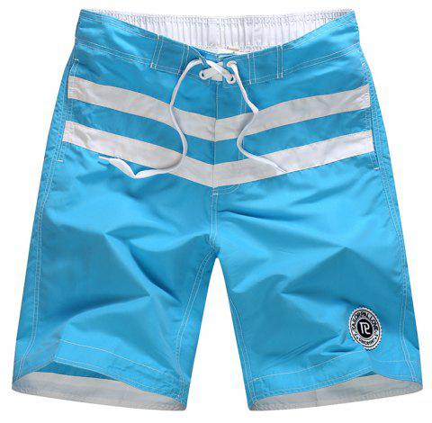 Beach Pants Men Leisure Pure Color Stripe Quick-Drying Movement Shorts - LIGHT BLUE 2XL