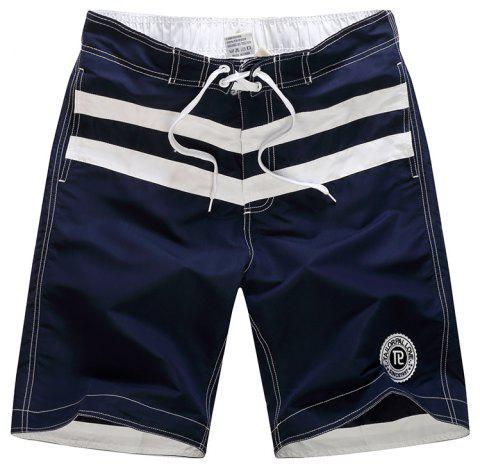 Beach Pants Men Leisure Pure Color Stripe Quick-Drying Movement Shorts - CADETBLUE XL