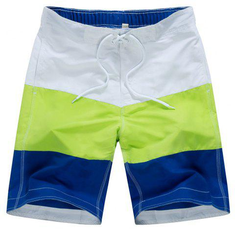Beach Pants Men Leisure Loose Three Color Stitching Movement Shorts - multicolor A 2XL