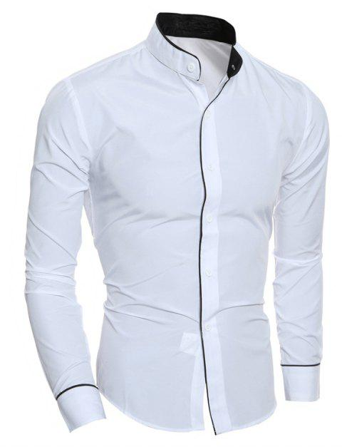 Men Shirt Personality Striped Casual Stand Collar Slim Long Sleeve - WHITE M