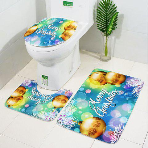 Christmas Bauble Pattern 3 Pcs Bath Mat Toilet Rug Set - GREEN SNAKE PACK OF 3