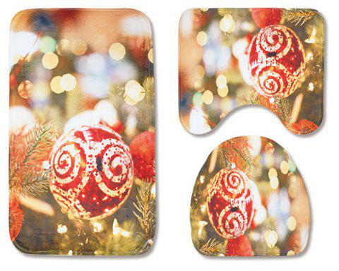 Christmas Toilet Seat Three-Piece Non-Slip Absorbent Bathroom Mat - GOLDEN BROWN PACK OF 3