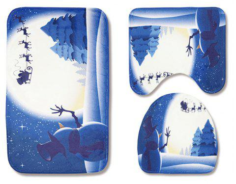 Christmas Toilet Seat Three-Piece Non-Slip Absorbent Bathroom Mat - LAPIS BLUE PACK OF 3