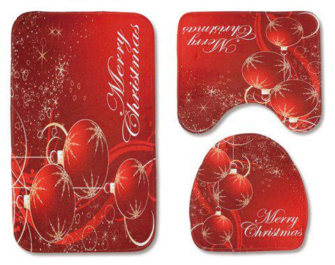 Christmas Toilet Seat Three-Piece Non-Slip Absorbent Bathroom Mat - RED PACK OF 3