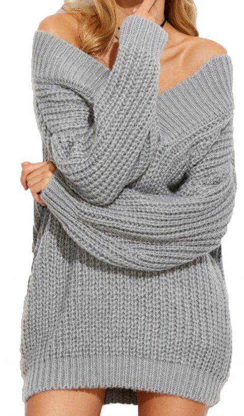 Long Sleeved V Necked Thickened Sweater - LIGHT GRAY ONE SIZE