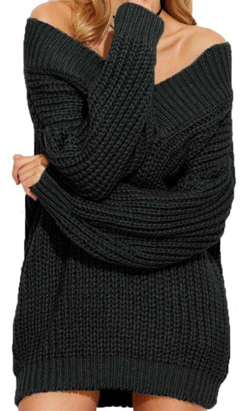 Long Sleeved V Necked Thickened Sweater - BLACK ONE SIZE
