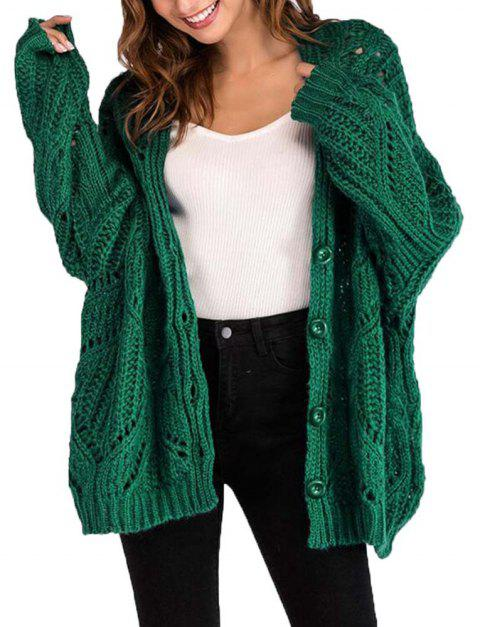 V Collar Long Sleeved Loose Sweater Coat - MEDIUM SPRING GREEN ONE SIZE