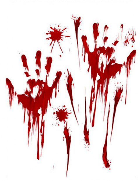 YEDUO Horror Decal Decor Halloween Blood Handprint Wall Stickers - RED
