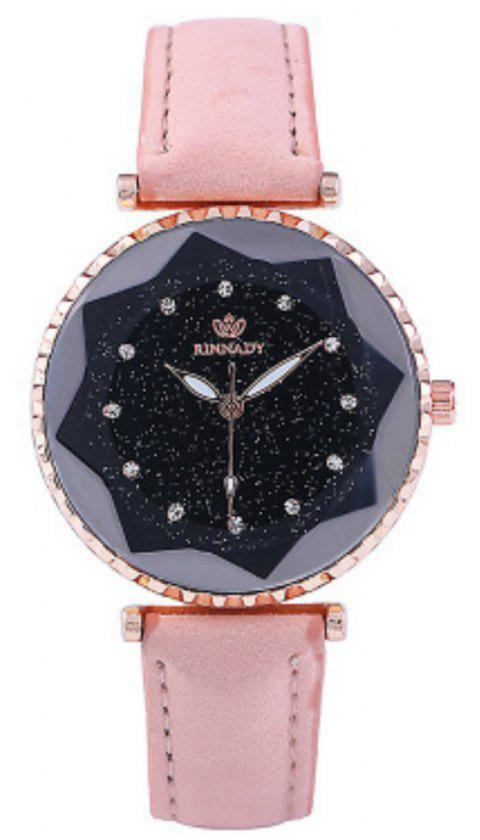 New Fashion Lady Creative Silver Sky Star Clock Dial Leisure Quartz Belt Watch - PINK
