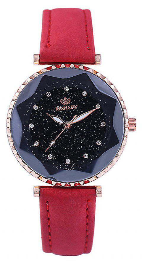 New Fashion Lady Creative Silver Sky Star Clock Dial Leisure Quartz Belt Watch - RED
