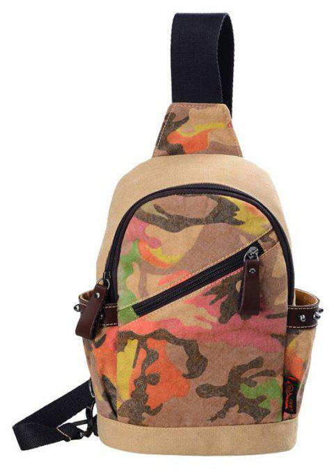 Douguyan Stylish Camo Canvas Single Shoulder Chest Bag for Men G00169 - LIGHT BROWN