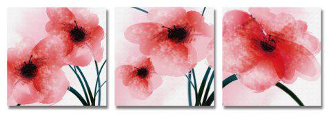 DYC 3PCS Beautiful Red Flowers Print Art - multicolor