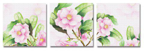 DYC 3PCS Beautiful Pink Flowers Imprimer Art - multicolor
