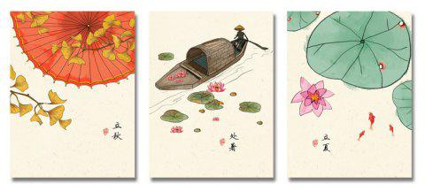 DYC 3PCS Chinese Landscape Print Art - multicolor