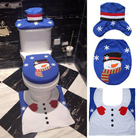 Christmas Snowman Toilet Seat Cover Happy Santa Closestool Decorations Rug Set - multicolor B