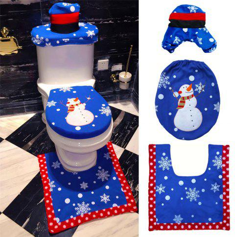 Christmas Snowman Toilet Seat Cover Happy Santa Closestool Decorations Rug Set - multicolor C