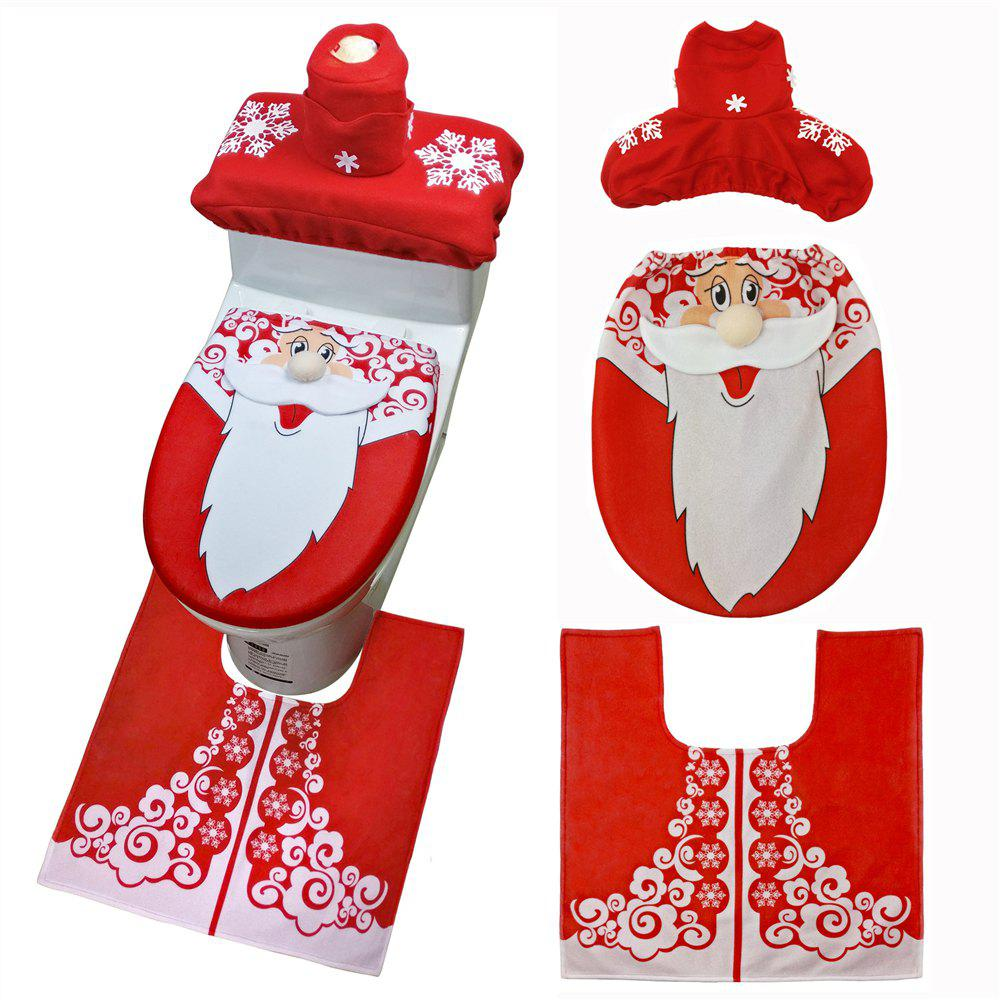 Christmas Snowman Toilet Seat Cover Happy Santa Closestool Decorations Rug Set - multicolor A