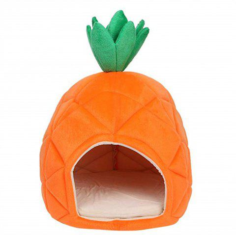 Foldable Soft Winter Pineapple Shape Pet House Cute Kennel Nest Dog Warm Cat Bed - PUMPKIN ORANGE L