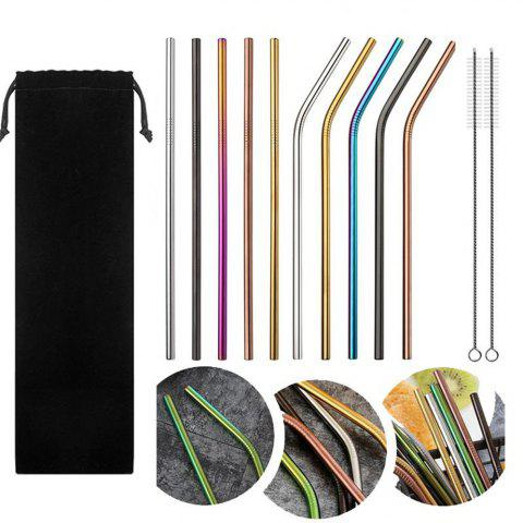 10pcs Stainless Steel Drinking Straws Multicolor Reusable - multicolor