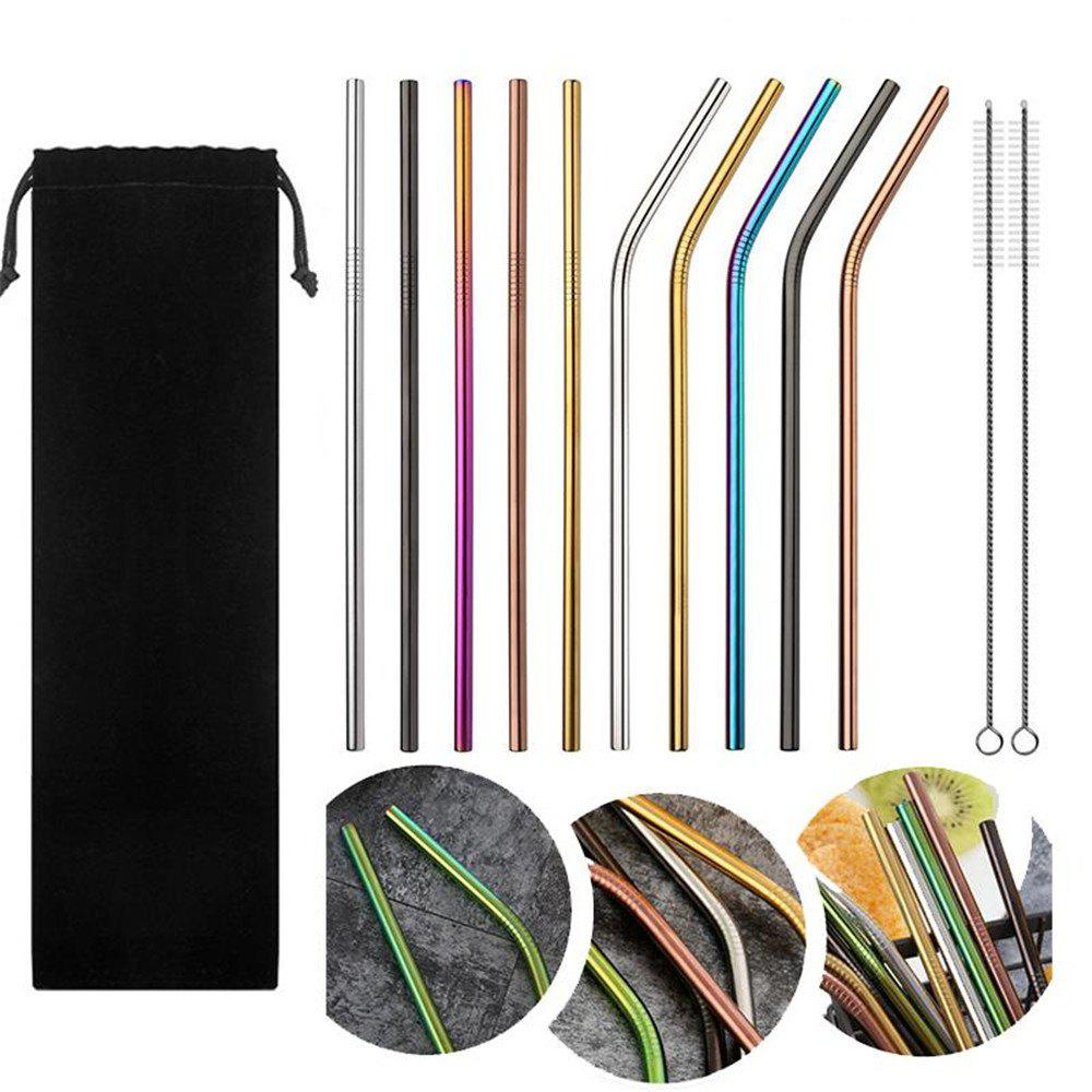Image of 10pcs Stainless Steel Drinking Straws Multicolor Reusable