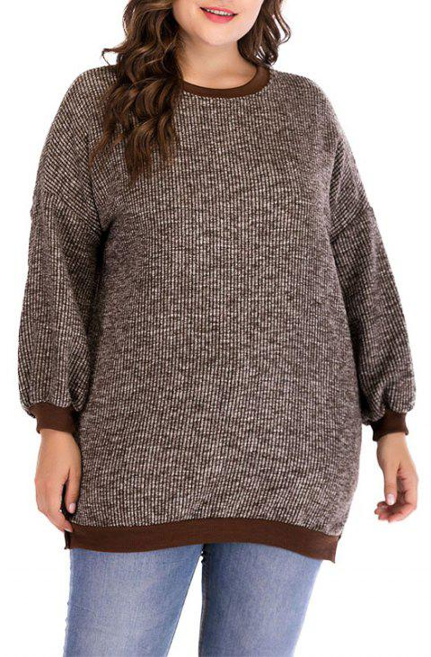 Round Collar Long Sleeve Knitted Sweater - DEEP COFFEE 3XL