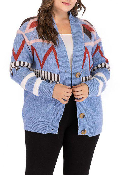 Knitted Long Sleeve Printing Cardigan Sweater - DAY SKY BLUE ONE SIZE