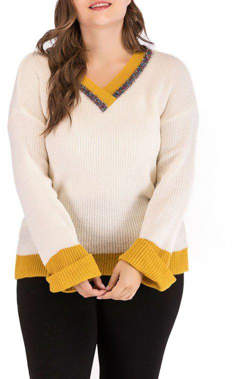 V Collar Splicing Long Sleeve Knitted Sweater - BEIGE ONE SIZE
