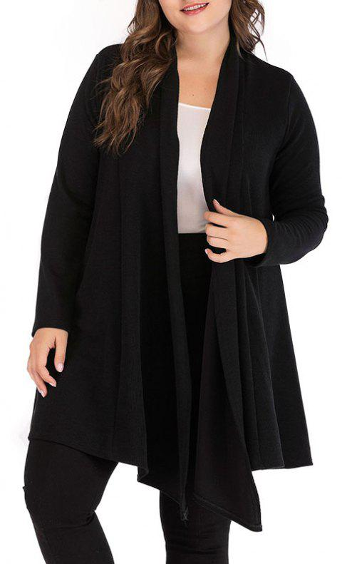 Solid Color Long Sleeve Knitted Cardigan Sweater - BLACK XL