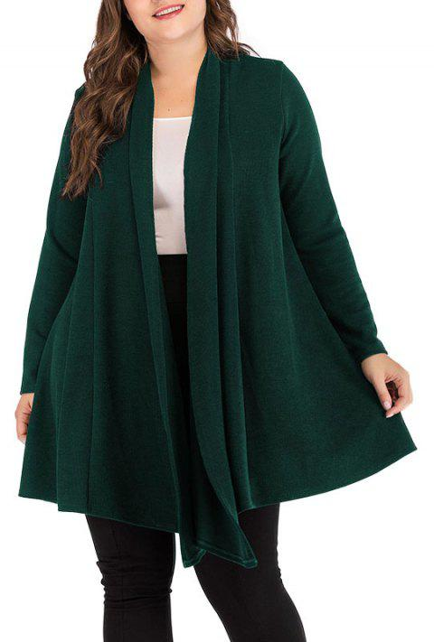 Solid Color Long Sleeve Knitted Cardigan Sweater - DARK FOREST GREEN 3XL