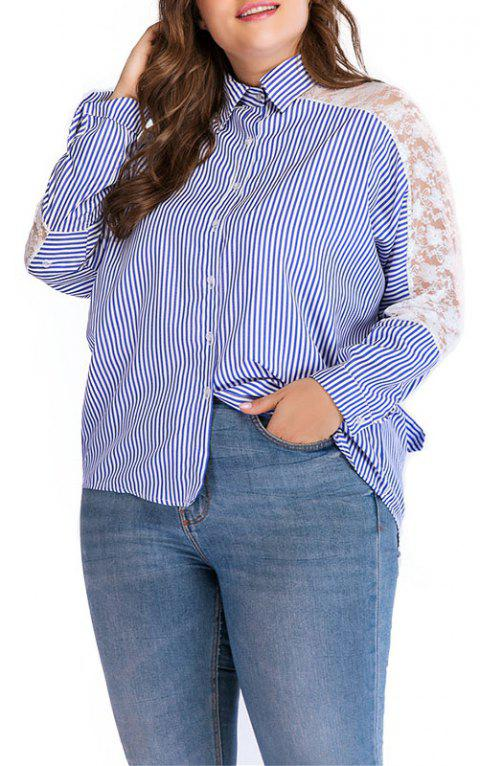Long Sleeve Stripe Lace Hollow Out Lapel Shirt - DAY SKY BLUE 4XL
