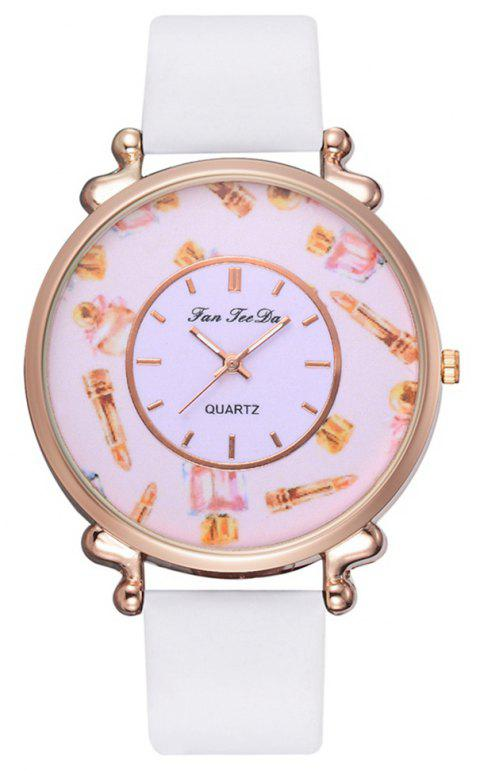 Fashion Alloy PU Strap Women Watch Casual Leather Mirror Quartz Watches - WHITE