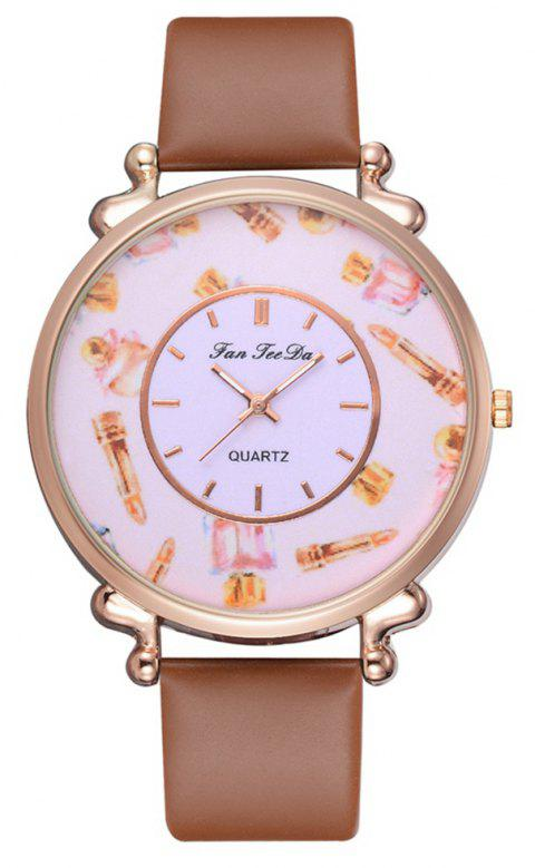 Fashion Alloy PU Strap Women Watch Casual Leather Mirror Quartz Watches - COFFEE