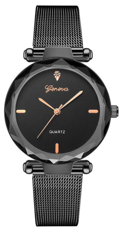 GENEVA Women Simple and Fashionable Stainless Steel Quartz Watch - multicolor C
