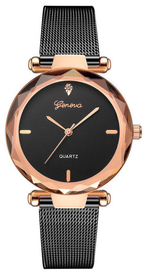 GENEVA Women Simple and Fashionable Stainless Steel Quartz Watch - multicolor B