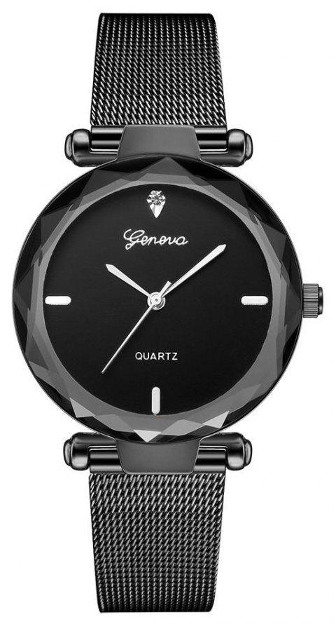 GENEVA Women Simple and Fashionable Stainless Steel Quartz Watch - multicolor D