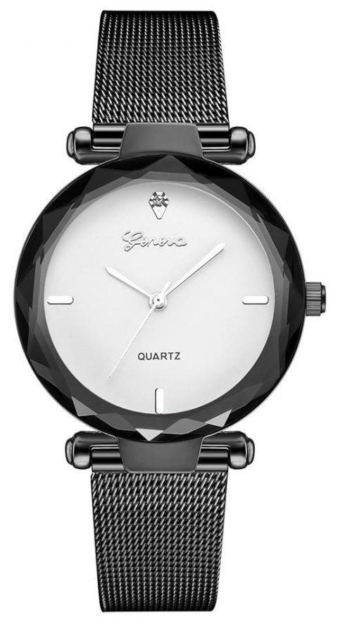 GENEVA Women Simple and Fashionable Stainless Steel Quartz Watch - multicolor F