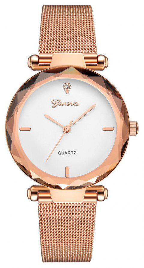 GENEVA Women Simple and Fashionable Stainless Steel Quartz Watch - multicolor H